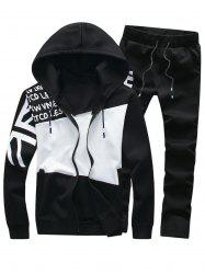 Graphic Color Block Panel Hoodie and Pants Twinset
