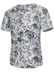Button Embellished Notch Neck Floral Tee