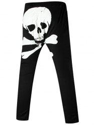 Back Skull Printed Drawstring Harem Pants