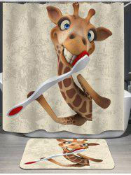 Giraffe Printed Shower Curtain and Rug