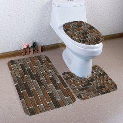 3 Pcs Flannel Brick Wall Pattern Bath Mat Toilet Mat