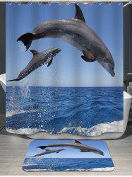 Jumping Dolphin Printed Shower Curtain and Rug
