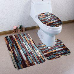 3 Pcs Brick Wall Pattern Flannel Toilet Mat Bath Mat