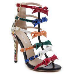 Bowknot Strappy Buckling Gladiator Sandals - Chair