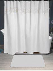 Floral Lace Embellished Waterproof Fabric Shower Curtain