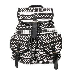 Buckles Canvas Ethnic Print Backpack - BLACK