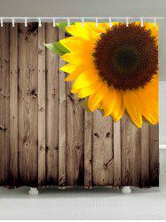 Wood Grain Sunflower Waterproof Shower Curtain - BROWN