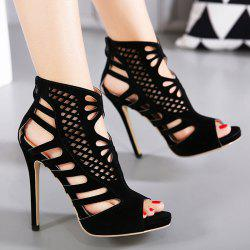 Cutout High Heel Peep Toe Sandals - BLACK 37