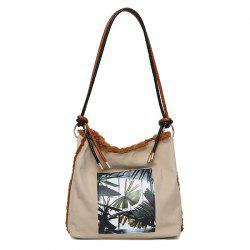 Palm Leaves Printed Canvas Shoulder Bag
