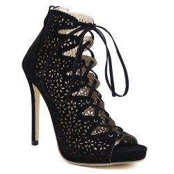 High Heel Cutout Lace Up Peep Toe Shoes