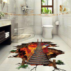 Volcano Chain Bridge 3D Floor Wall Sticker