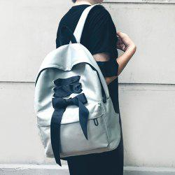 Casual Ribbon Nylon Backpack - GRAY