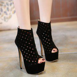 Zipper Hollow Out Peep Toe Shoes