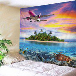 Airplane Island Ocean Print Tapestry Wall Hanging Art Decoration
