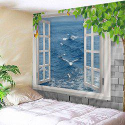Window Ocean Print Tapestry Wall Hanging Art Decoration