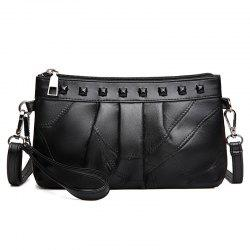 Rivet Faux Leather Ruched Crossbody Bag