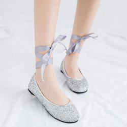 Tie Up Sequined Flat Shoes - SILVER