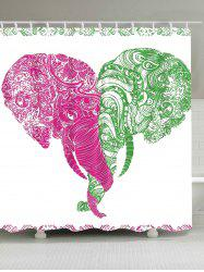 Extra Long Artistic Elephants Printed Shower Curtain
