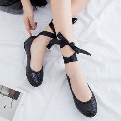 Tie Up Sequined Flat Shoes - BLACK