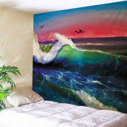Ocean Wave Sunset Print Tapestry Wall Hanging Art Decoration