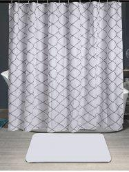 Grid Laciness Fabric Waterproof Shower Curtain