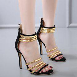 High Heel Metallic Strap Gladiator Sandals