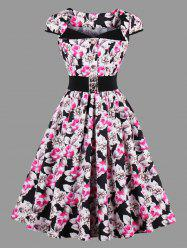 Vintage Button Floral Skater Dress