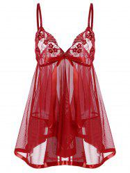 Embroidered Sequin See Thru Slip Babydoll - RED