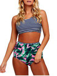 High Waisted Cross Back Tropical Bikini Set