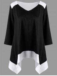 Asymmetrical Two Tone Plus Size Top