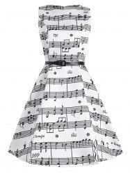 Plus Size Music Pattern Midi 1950s Dress - WHITE
