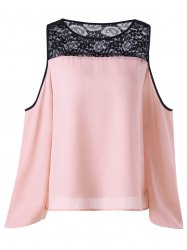 Lace Yoke Open Shoulder Blouse