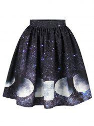 Galaxy Moon Starry Sky Print Skirt - COLORMIX