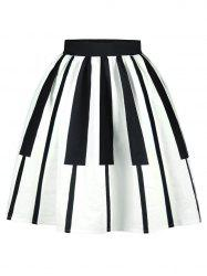 Striped High Waist Two Tone Skirt - WHITE AND BLACK