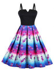 Vintage Feather Print  Spaghetti Strap Skater Dress