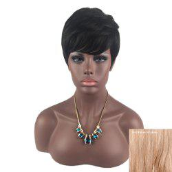 Short Inclined Bang Layered Straight Human Hair Wig