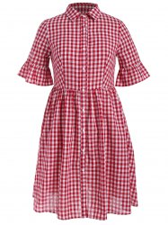 Plaid Flare Sleeve Smocked Shirt Dress