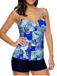 Twist Front Printed Tankini Set - BLUE M