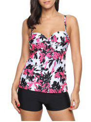 Twist Front Printed Tankini Set - RED XL