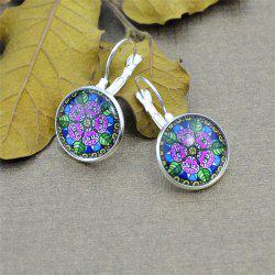 Round Flower Pattern Clip On Earrings