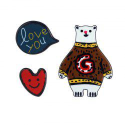 Heart Bear Love You Brooch Set - Café