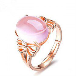 Faux Crystal Gemstone Dragonfly Oval Ring - Or Rose