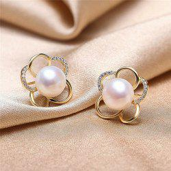 Faux Pearl Plum Blossom Shape Stud Earrings