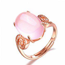 Faux Crystal Gemstone Oval Cuff Ring - ROSE GOLD