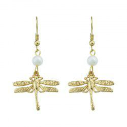 Dragonfly Faux Pearl Pendant Fish Hook Earrings