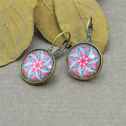 Lotus Flower Pattern Round Clip On Earrings