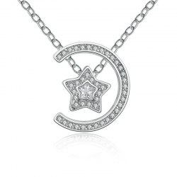 Detachable Letter C Star Rhinestone Pendant Necklace