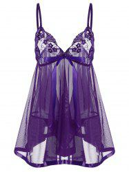 Embroidered Sequin See Thru Slip Babydoll