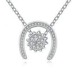 Detachable Horseshoe Sun Rhinestone Pendant Necklace