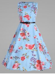 Belted Plus Size Rose Vintage Swing Dress